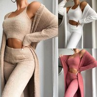 Designer Senhoras Teddy Lounge Wear Set Womens 3 Parte Tracksuits Fleece pijama Cardigan