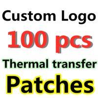 Logo personalizzato 100pcs thermal cucito top top per cucito abbigliamento decorazione qualità marchio ricamato patch trasferimento termico trasferimento di calore adesivi di carta in vinile