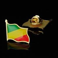 30 шт. Республика Конго Африканский Страна Национальный флаг ремесленники Золото покрыто значком Дружба брошь