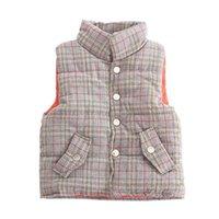 Waistcoat DFXD 어린이 소년 소녀 겨울 두꺼운 격자 무늬 따뜻한 유아 옷 어린이 민소매 outwear 1-5 년