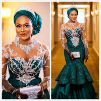 Traditional Nigerian African Mermaid Wedding Dresses Aso Ebi Hunter Green Lace Applique Beaded Long Sleeve Bridal Reception Gown