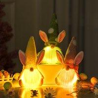 Festivali Paskalya Işık Cüceler Yüzsüz Bunny Cüce Bebek Işık Tavşan Peluş Oyuncaklar Ile En Iyi Hediye Mutlu Paskalya Parti Ev Dekor Lla507