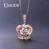 Umode Rose Gold Crown pendentifs Colliers pour femmes Clear + CZ Collier de luxe Bijoux de mariée de mariage de mariée Girls Party cadeau UN0317A1