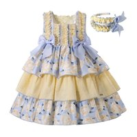 Pettgirl Children Fancy Flower Princess Dresses for Girls Outfits Summer Clothes Size Age 3 4 5 6 8 10 12 Year Old & Hairband 210802
