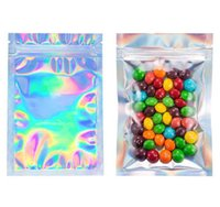 Packing Bags Resealable Smell Proof Foil Pouch Flat laser color Packaging Zipper Bag For Party Favor Food Storage Holographic Rainbow 79XJ MYCK