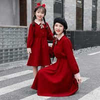 Christmas Family matching outfits girls lapel long sleeve red princess dress women Bows pleated dresses mother and daughter clothing Q2368