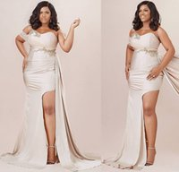 2021 Plus Size Arabic Aso Ebi Champagne Mermaid Sexy Prom Dresses Lace High Split Satin Evening Formal Party Second Reception Bridesmaid Gowns Dress ZJ336