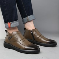 Boots 100% Genuine leather shoes of men winter boots make wear men's ankle cold man on a3958 HMOL