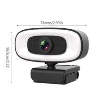Webcams F19E 2K USB Webcamera voor PC Computer Beauty Autofocus Free Drive CAM W / Microfoon / 3 versnelling vullen Light Streaming