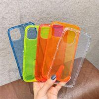 Cubierta trasera de color fluorescente de neón para iPhone 12 Mini 7 8 Plus Soft TPU Clear Clear para iPhone 12 11 Pro XR X XS Max Funda a prueba de golpes