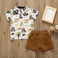 소년을위한 어린이 의류 양복 어린이 여름 짧은 소매 옷깃 티셔츠 + 짧은 바지 2pcs 아기 세트 335 Y2