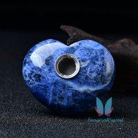 Blue-vein Stone Heart Tube Quartz Crystal Reiki Tobacco Acessórios para fumar portáteis