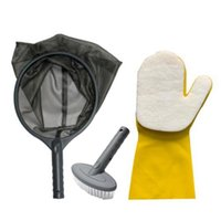 Pool & Accessories Swimming Cleaning Kit Pond Spa Maintenance 3Pcs Tub With Skimmer Net, Brush, Sponge Glove