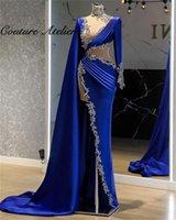Party Dresses Royal Blue Evening Luxury 2021 Long Sleeve Mermaid Dress High Slit Prom Gowns Robe De Soree