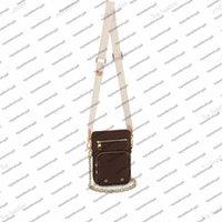 Utility Phone Sleeve Women Mini Designer Bag Borsa Borsa Canvas Natural in pelle di vitello Clutch Crossbody Borsa con tracolla Borsa da trasporto M80746
