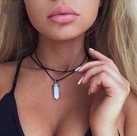 Collane in pelle da donna moda in pietra naturale colonna esagonale pendenti con scollo a ciondoli con scollo a forma di quarzo cristalli