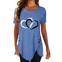Women's T-Shirt Summer Women Casual Tees Heart Print Button O Neck Short Sleeve Irregular Hem Femme Clothing Tunic Shirts S-2XL