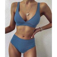 Women's Swimwear Peachtan Sexy Solid Ribbed Bikinis 2021 Mujer High Waist Swimsuit Women V Neck Female Sport Bathing Suit Stripe Biquini