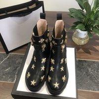 2021 Kadın Tasarımcı Çizmeler Martin Çöl Boot Flamingos Aşk Ok 100% Gerçek Deri Madalya Kaba Kaymaz Kış Ayakkabı Boyutu US4-10