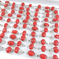 Solitaire JewolryHholesale 50 pcs Mix estilos coloridos Turquesa Anéis de pedra para mulheres senhoras moda jóias anel marca entrega 2021 6m