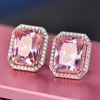 HBP mode luxe 925 sterling argent diamant imitation tourmaline noble grand carré boucles d'oreilles populaires 9 * 11