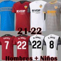21 22 Valencia CF Futbol Formaları VCF Üçüncü 4. Jersey 2021 2022 Guedes Gameiro Camisetas De Fútbol C Soler Florenzi M.Gómez Erkekler Çocuk Kiti Futbol Gömlek Üst Üniforma