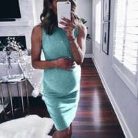 Maternity Dresses Pencil Women Dress Ladies Plus Size Sleeveless Solid Summer Crew Neck Casual Fashion Knee Length Pregnant Adults