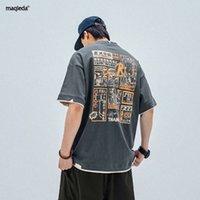 Macheda Summer Chinoiserie Печатные Короткие Мужские Национальные Тренд Свободный Хлопок Поддельные Двухместный Футболка Футболка Мода