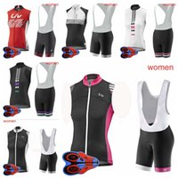 Liv Team Womens Cycling Senza maniche Jersey Gilet 9D Pad Bib Shorts Set MTB Esterni Gyrsey in jersey da ciclismo Ropa Ciclismo S080711