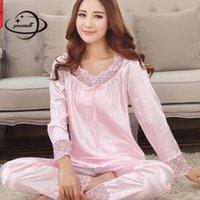 Женщины Пижама наборы весенние осень женские спящие одежда рубашки одежды = брюки 2 шт. Сплошное цветное лук кружева женская одежда Y601