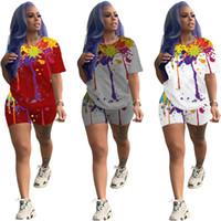 2021 Tenues de deux pièces Chute de vêtements d'automne pour femmes Set de colorant T-shirt pour femmes Top and Shorts TrackSuit Jogging Femme Automne Plus Taille 00