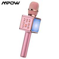 MPOW Combo Karaoke Mikrofon Hoparlör Kablosuz Bluetooth Singing Makinesi LED Işıkları ile Taşınabilir El Karaoke Mic Parti için