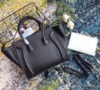 Klassische Luxus-Damen Trapez Casual Tote Echtes Echtleder Hochwertige Designer-Schulter-Bat-Tasche mit Handgelenk-Geldbörse BOSTON-Handtasche