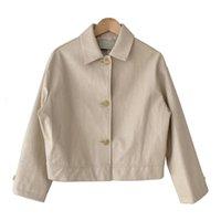 Jaquetas femininas Talvez U Mulheres Pu Faux couro branco bege jaqueta preta desligada Botão de outwear de colarinho High Street C0340