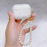 Dreamy White White Shell Pelea Pulsera Llavero Auricular Funda Suave para Apple Airpods 1 2 3 Tapa Caja de auriculares inalámbricos AirPod Pro Coque Air PODS