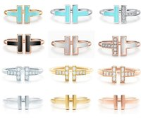 TIFF Duplo em forma de T Abertura 925 Anéis de Prata Sterling, 1.1with original Logo Moda Mulher Jóias