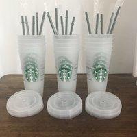 Starbucks 24oz / 710ml tumbler di plastica riutilizzabile trasparente bere fondo piatto tazza del fondo della tazza del pilastro della tazza della paglia Bardiane 100pcs Fordhl Trasporto libero