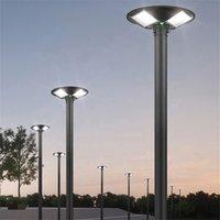 مصباح الشارع الشمسي المتكامل 300W 600W UFO مصباح الرادار استشعار الحركة في الهواء الطلق إضاءة توقيت + جهاز التحكم عن بعد IP65 أضواء جدار حديقة للماء لساحة بلازا