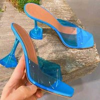 Sandals 2021 Transparent Crystal Heel Slippers Women Summer Style Amina Fashion Wine Glass With Square Toe 34-42