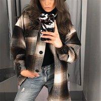 Women's Jackets Long Sleeve Loose Women Oversized Coats 2021 Stylish Pockets Plaid Jacket Coat Lapel Collar Female Outwear Casual Tops