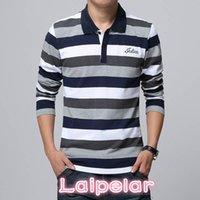 Bordado de la bordada de la raya de los hombres de alta calidad de la camiseta de la camiseta de manga larga de la camiseta de manga larga camisa de solapa 5xl