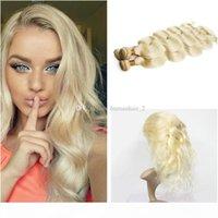 Блондинка человеческих волос Weaves с 360 полным кружевной полосы Frontal бразильцы # 613 Platinum Blonde Body Wave 360 кружевной лобной крышкой