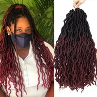 합성 크로 셰 뜨개질 머리 띠 머리 곱슬 가짜 locs 집시 꼰 머리 확장 ombre 색상 흑인 여성을위한 부드러운 솜털 향취