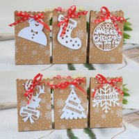 6 Stili Europeo New Christmas Candy Box Christmas Kraft Paper Snowflake Paper Bag Biscuit Candy Bag RRD7502
