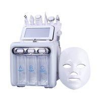 H2O2 Hydro Facial Dermabrasion 산소 제트 미세 박피술 미용 기계 스킨 케어 장치 7in1 LED 마스크가있는 노화 방지 소형 거품