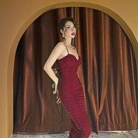 Casual Dresses Le Palais Vintage 2021 Spring Original Wine Red Sexy Spaghetti Straps Elastic Dress Elegant Fashionable Slim Women
