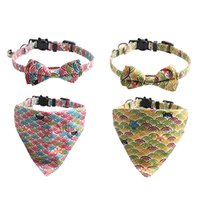 Dog Collars Cartoon Pattern Pet Puppy Dogs Cat Bow Ties Triangular Scarf Two Piece Suit Adjustable Outdoor Strong Durable Neckties Collar Grooming Supplies