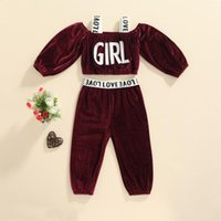 Clothing Sets Toddler Baby Girls 2pcs Velvet Clothes Set Fashion Letter Ribbon Suspender Long Sleeve Tops And Pants Tracksuits