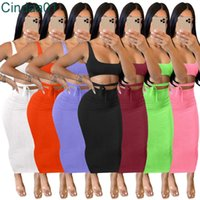 Women Midi Dress Designer Slim Sexy Tracksuits Pure Color Suspender Open Belly Multicolor Long Skirt Suits Female Outfits Clothes 7 Colours