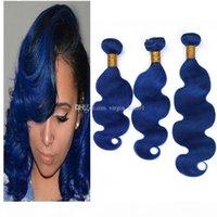8A 그레이드 블루 바디 웨이브 번들 3pcs 로트 브라질 버진 인간의 머리카락 확장 체형의 물결 모양의 어두운 푸른 인간의 머리 위사